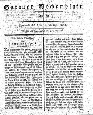 Sorauer Wochenblatt für Unterhaltung, Belehrung und Ereignisse der Gegenwart vom 21.08.1830