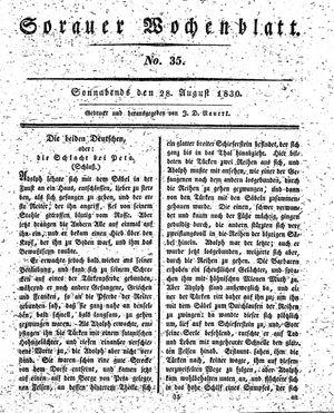 Sorauer Wochenblatt für Unterhaltung, Belehrung und Ereignisse der Gegenwart vom 28.08.1830
