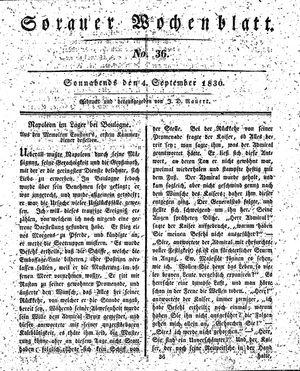 Sorauer Wochenblatt für Unterhaltung, Belehrung und Ereignisse der Gegenwart vom 04.09.1830