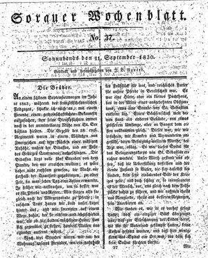 Sorauer Wochenblatt für Unterhaltung, Belehrung und Ereignisse der Gegenwart vom 11.09.1830
