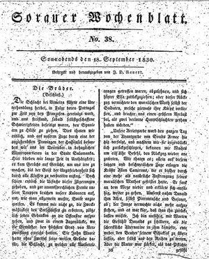 Sorauer Wochenblatt für Unterhaltung, Belehrung und Ereignisse der Gegenwart vom 18.09.1830