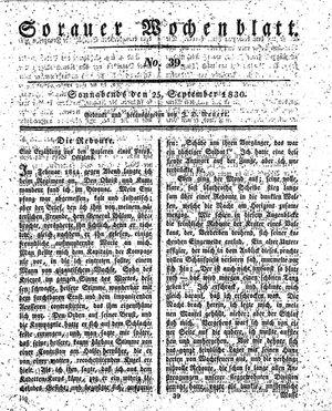 Sorauer Wochenblatt für Unterhaltung, Belehrung und Ereignisse der Gegenwart vom 25.09.1830