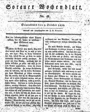 Sorauer Wochenblatt für Unterhaltung, Belehrung und Ereignisse der Gegenwart vom 09.10.1830