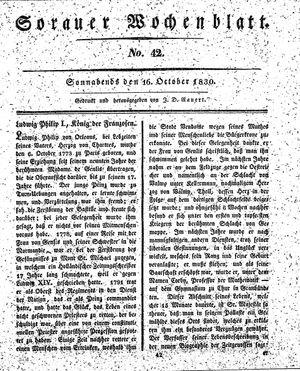 Sorauer Wochenblatt für Unterhaltung, Belehrung und Ereignisse der Gegenwart vom 16.10.1830