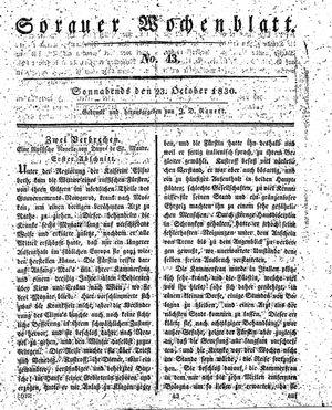 Sorauer Wochenblatt für Unterhaltung, Belehrung und Ereignisse der Gegenwart vom 23.10.1830