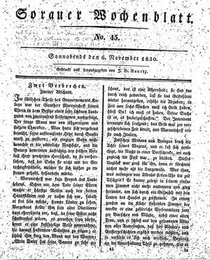 Sorauer Wochenblatt für Unterhaltung, Belehrung und Ereignisse der Gegenwart vom 06.11.1830