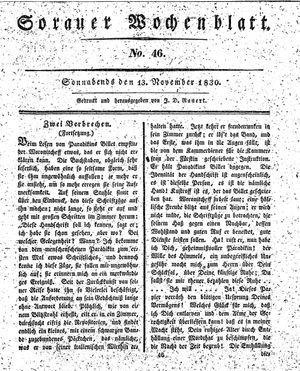 Sorauer Wochenblatt für Unterhaltung, Belehrung und Ereignisse der Gegenwart vom 13.11.1830