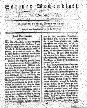 Sorauer Wochenblatt für Unterhaltung, Belehrung und Ereignisse der Gegenwart vom 27.11.1830