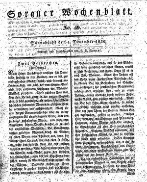 Sorauer Wochenblatt für Unterhaltung, Belehrung und Ereignisse der Gegenwart vom 04.12.1830