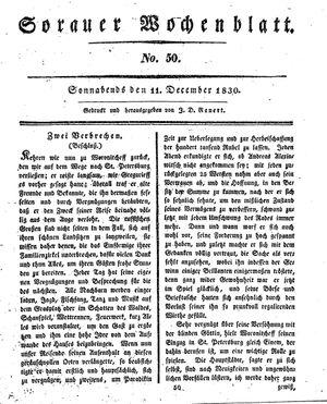 Sorauer Wochenblatt für Unterhaltung, Belehrung und Ereignisse der Gegenwart vom 11.12.1830