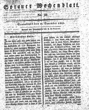 Sorauer Wochenblatt für Unterhaltung, Belehrung und Ereignisse der Gegenwart vom 18.12.1830