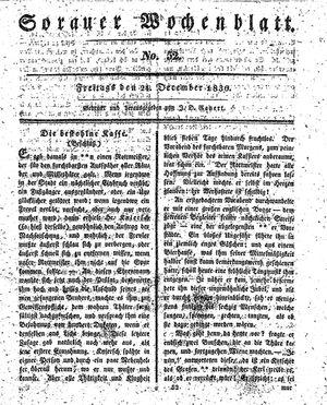 Sorauer Wochenblatt für Unterhaltung, Belehrung und Ereignisse der Gegenwart vom 24.12.1830