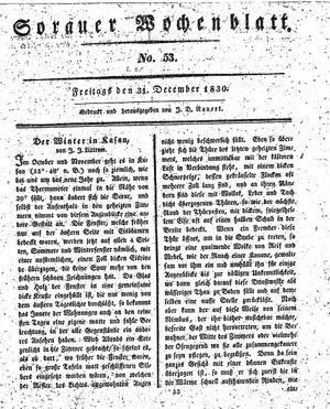 Sorauer Wochenblatt für Unterhaltung, Belehrung und Ereignisse der Gegenwart vom 31.12.1830