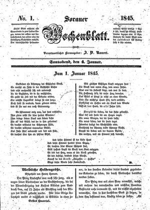 Sorauer Wochenblatt für Unterhaltung, Belehrung und Ereignisse der Gegenwart vom 04.01.1845