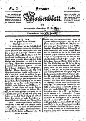 Sorauer Wochenblatt für Unterhaltung, Belehrung und Ereignisse der Gegenwart vom 11.01.1845