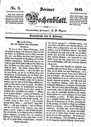 Sorauer Wochenblatt für Unterhaltung, Belehrung und Ereignisse der Gegenwart vom 01.02.1845