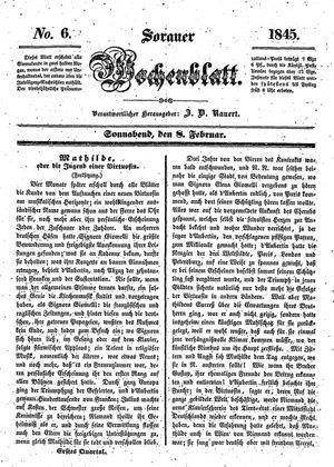 Sorauer Wochenblatt für Unterhaltung, Belehrung und Ereignisse der Gegenwart vom 08.02.1845