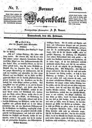 Sorauer Wochenblatt für Unterhaltung, Belehrung und Ereignisse der Gegenwart on Feb 15, 1845