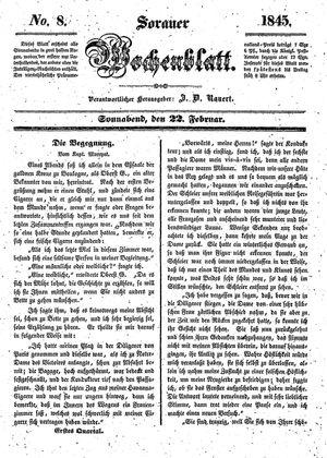 Sorauer Wochenblatt für Unterhaltung, Belehrung und Ereignisse der Gegenwart vom 22.02.1845