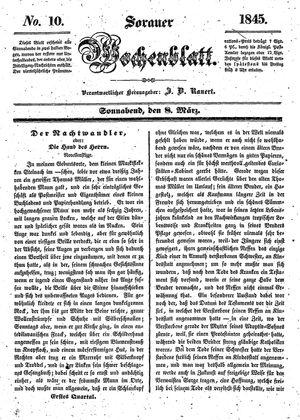 Sorauer Wochenblatt für Unterhaltung, Belehrung und Ereignisse der Gegenwart vom 08.03.1845