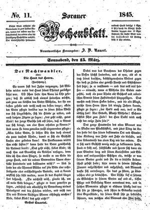 Sorauer Wochenblatt für Unterhaltung, Belehrung und Ereignisse der Gegenwart vom 15.03.1845