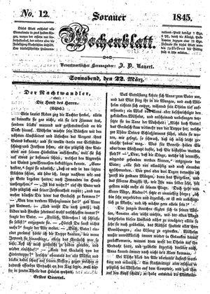 Sorauer Wochenblatt für Unterhaltung, Belehrung und Ereignisse der Gegenwart vom 22.03.1845