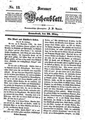 Sorauer Wochenblatt für Unterhaltung, Belehrung und Ereignisse der Gegenwart vom 29.03.1845