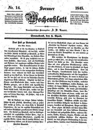 Sorauer Wochenblatt für Unterhaltung, Belehrung und Ereignisse der Gegenwart on Apr 5, 1845