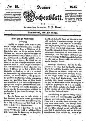 Sorauer Wochenblatt für Unterhaltung, Belehrung und Ereignisse der Gegenwart vom 12.04.1845