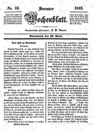 Sorauer Wochenblatt für Unterhaltung, Belehrung und Ereignisse der Gegenwart vom 19.04.1845
