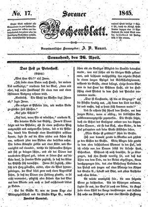 Sorauer Wochenblatt für Unterhaltung, Belehrung und Ereignisse der Gegenwart vom 26.04.1845