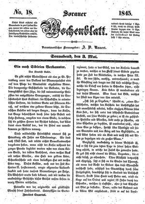 Sorauer Wochenblatt für Unterhaltung, Belehrung und Ereignisse der Gegenwart vom 03.05.1845