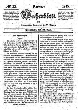 Sorauer Wochenblatt für Unterhaltung, Belehrung und Ereignisse der Gegenwart vom 31.05.1845