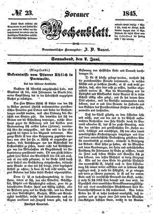 Sorauer Wochenblatt für Unterhaltung, Belehrung und Ereignisse der Gegenwart vom 07.06.1845