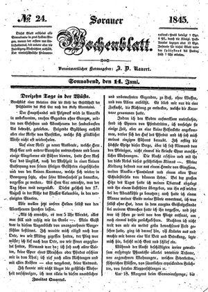 Sorauer Wochenblatt für Unterhaltung, Belehrung und Ereignisse der Gegenwart vom 14.06.1845