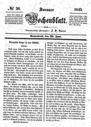 Sorauer Wochenblatt für Unterhaltung, Belehrung und Ereignisse der Gegenwart on Jun 28, 1845