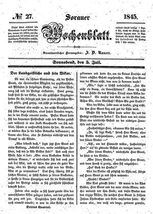Sorauer Wochenblatt für Unterhaltung, Belehrung und Ereignisse der Gegenwart on Jul 5, 1845