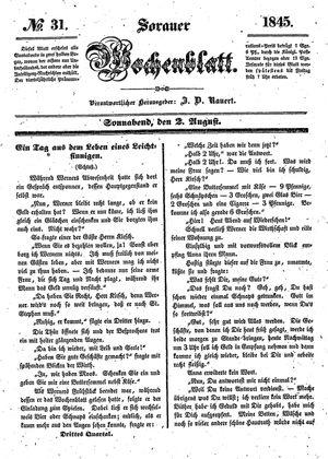 Sorauer Wochenblatt für Unterhaltung, Belehrung und Ereignisse der Gegenwart vom 02.08.1845