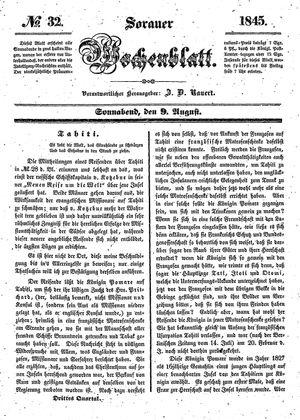 Sorauer Wochenblatt für Unterhaltung, Belehrung und Ereignisse der Gegenwart vom 09.08.1845