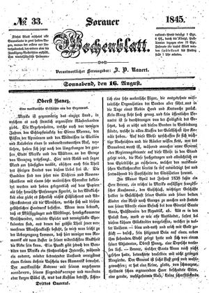 Sorauer Wochenblatt für Unterhaltung, Belehrung und Ereignisse der Gegenwart vom 16.08.1845