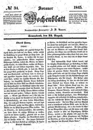 Sorauer Wochenblatt für Unterhaltung, Belehrung und Ereignisse der Gegenwart vom 23.08.1845