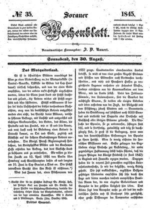 Sorauer Wochenblatt für Unterhaltung, Belehrung und Ereignisse der Gegenwart vom 30.08.1845