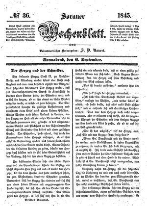 Sorauer Wochenblatt für Unterhaltung, Belehrung und Ereignisse der Gegenwart vom 06.09.1845