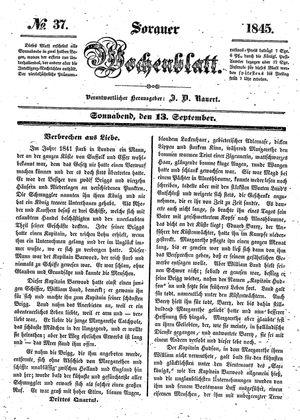 Sorauer Wochenblatt für Unterhaltung, Belehrung und Ereignisse der Gegenwart vom 13.09.1845