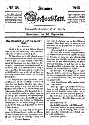 Sorauer Wochenblatt für Unterhaltung, Belehrung und Ereignisse der Gegenwart vom 20.09.1845