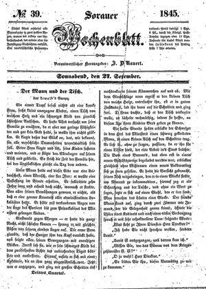 Sorauer Wochenblatt für Unterhaltung, Belehrung und Ereignisse der Gegenwart vom 27.09.1845