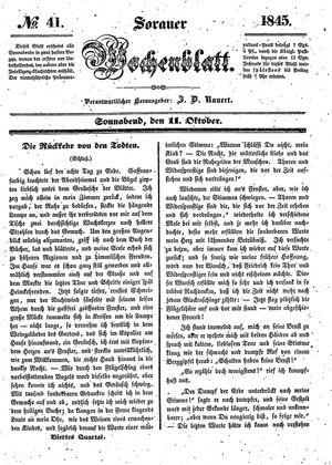 Sorauer Wochenblatt für Unterhaltung, Belehrung und Ereignisse der Gegenwart vom 11.10.1845