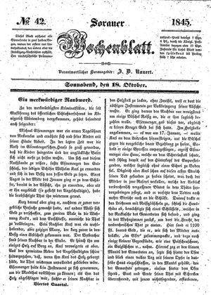 Sorauer Wochenblatt für Unterhaltung, Belehrung und Ereignisse der Gegenwart vom 18.10.1845