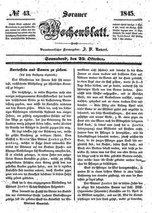 Sorauer Wochenblatt für Unterhaltung, Belehrung und Ereignisse der Gegenwart vom 25.10.1845
