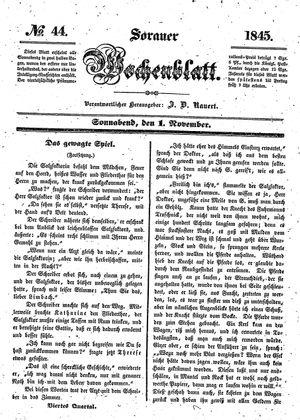 Sorauer Wochenblatt für Unterhaltung, Belehrung und Ereignisse der Gegenwart vom 01.11.1845